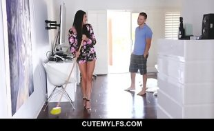 Hot MILF Anissa Kate needs help from her horny stepson and they started a quick sex while daddy is not yet home